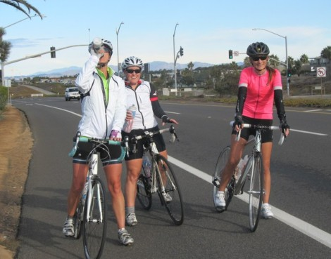 Anika, Kim, and Verity pause along the coast highway