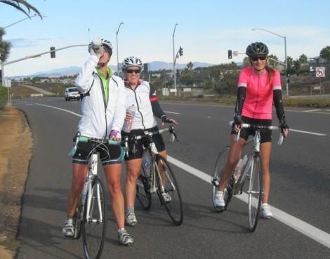 Anika, Kim, and Verity pause along the coast highway