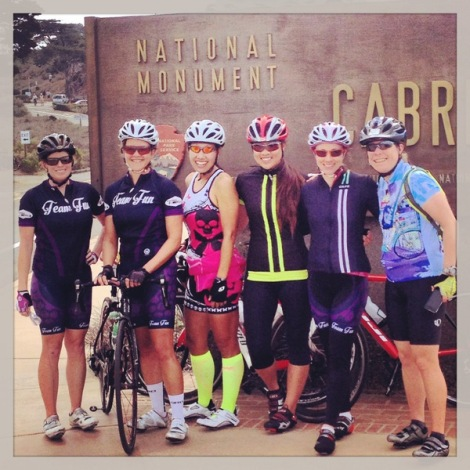 Jill, Heather, Tina, Kim, Lauren and Suzanne at the Cabrillo sign.