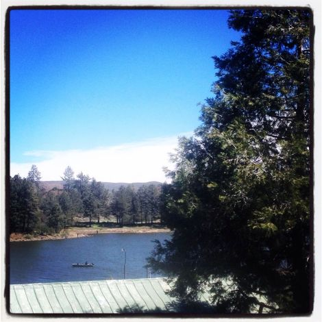 View onto Lake Cuyamaca from the restaurant deck