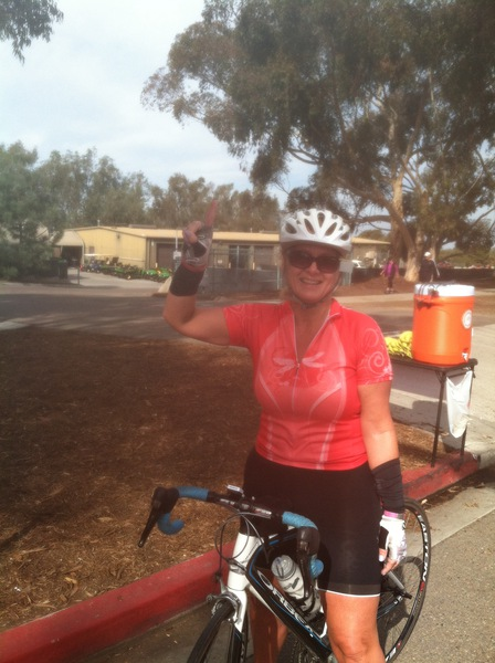 Gwen celebrating the top of Torrey Pines.