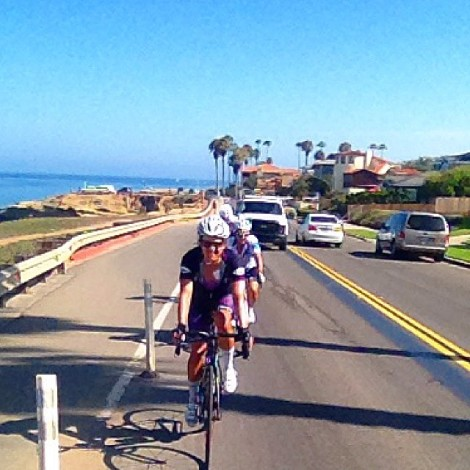 The group riding along Sunset Cliffs
