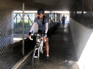 Janice always looks good on the bike, even in dark freeway underpass tunnels!
