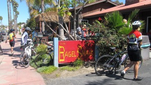 Our trusty noses led us safely to San Clemente's famous Bagel Shack.