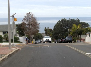Desiree climbing Hill St in Pt Loma