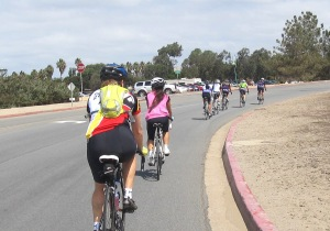The headwind-enforced pace-line north on W Mission Bay Dr.