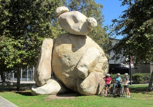 The solidly cuddly boulder Hawkinson Bear at Jacobs Engineering complex.