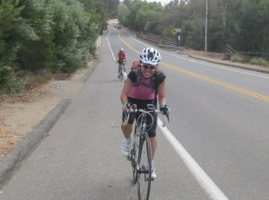 Ariel & Shannon sprinting the last bit of Camino del Norte.