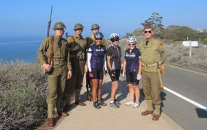 Surrounded by cute WW II GIs at Cabrillo.
