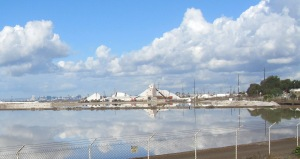 The salt farm, from across the bay.