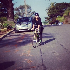 Mary, still smiling after riding up Santa Cruz St steepie on a standard crank.