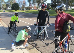 Brielle changed her own flat while a few of us cheered on.