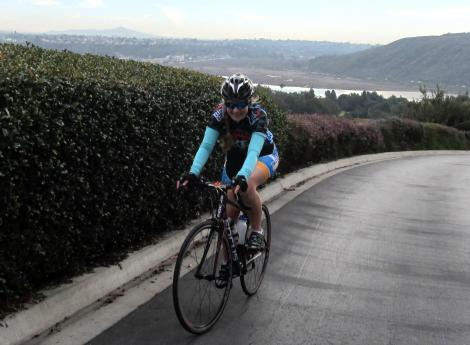I'm afraid Sian will not believe us anymore when we say things like 'it's all downhill/flat from now on'... though she was still smiling near the crest of the Blue Heron Dr climb on Aviara Resort!