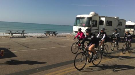 Jill leads the group through an ocean front park in Dana Point on the return trip.