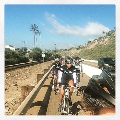 Jill takes a picture of the group from her lead spot - heading south through San Juan Capistrano