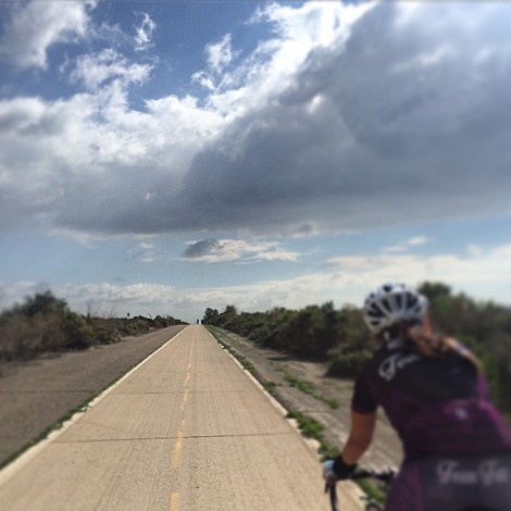 Heather riding into the wind, heading south toward Camp Pendleton
