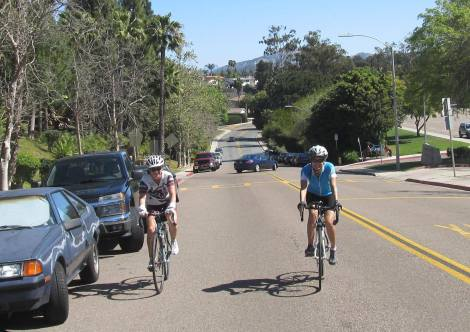 Fern and Jennifer on Matinal, one of our byways streets through Rancho Bernardo