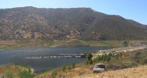 El Capitan Reservoir, looking very drought-stricken.