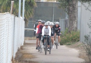 Team Fun B/C group on the southernmost stretch of Rose Creek Bike Path.