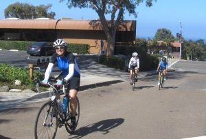C gang smiling our way up 9th St from Camino Del Mar.