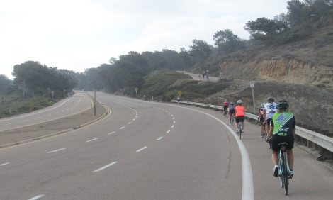 B Group heading up Torrey Pines.