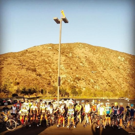 The larger group at the start of the Labor Day Palomar Climb
