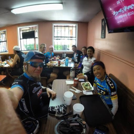 Jason, Janice, and the rest of the crew enjoy tacos following the climb.